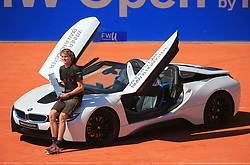 MUNICH, May 7, 2018  Germany's Alexander Zverev poses with the trophy and a car as a prize after the men's singles final match of BMW Open 2018 against his compatriot Philipp Kohlschreiber in Munich, Germany, on May 6, 2018. Alexander Zverev won 2-0 to claim the title. (Credit Image: © Philippe Ruiz/Xinhua via ZUMA Wire)