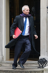 Downing Street, London, October 25th 2016. Leader of the House of Commons David Lidington leaves10 Downing Street following the weekly cabinet meeting and the announcement that the construction of a third runway at Heathrow Airport has initial government approval.