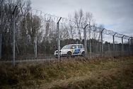 Hungarian police patroling the Serbian Hungarian border near the village of Gornji Tavankut, Serbia. March 19th, 2017. Federico Scoppa/CAPTA