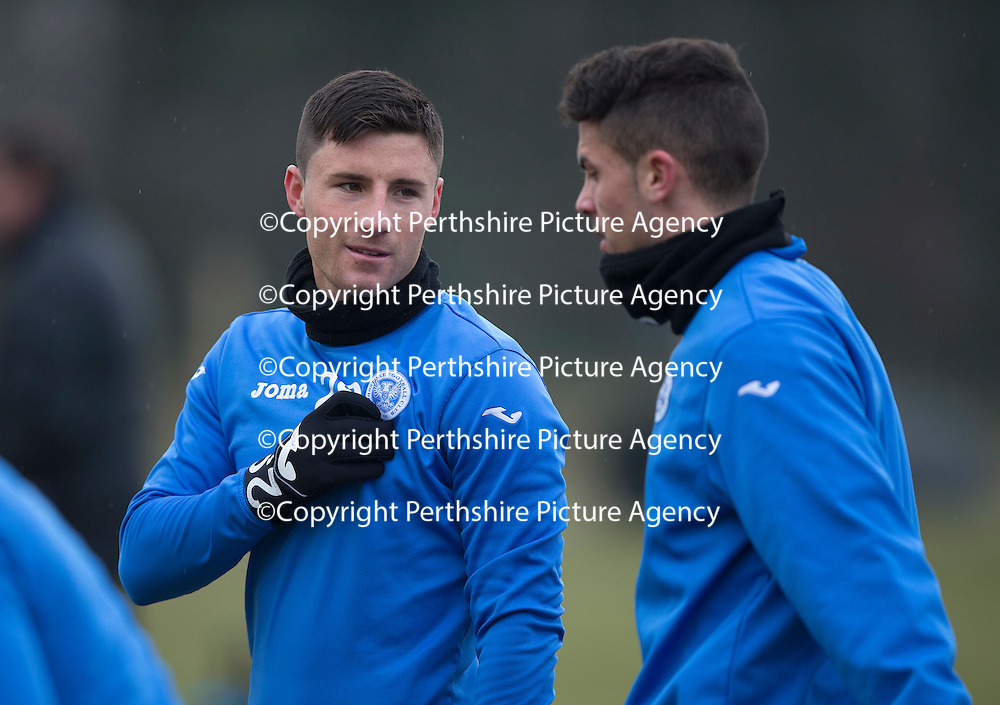 St Johnstone Training....13.02.15<br /> MicHael O'Halloran pictured with Gary Miller during training this morning at McDiarmid Park ahead of tomorrow's game against Celtic<br /> Picture by Graeme Hart.<br /> Copyright Perthshire Picture Agency<br /> Tel: 01738 623350  Mobile: 07990 594431