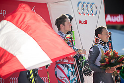 18.12.2016, Grand Risa, La Villa, ITA, FIS Ski Weltcup, Alta Badia, Riesenslalom, Herren, Siegerpräsentation, im Bild Marcel Hirscher (AUT, 1. Platz), Florian Eisath (ITA, 3. Platz) // race winner Marcel Hirscher of Austria, third placed Florian Eisath of Italy during the winner presentation for the men's Giant Slalom of FIS ski alpine world cup at the Grand Risa race Course in La Villa, Italy on 2016/12/18. EXPA Pictures © 2016, PhotoCredit: EXPA/ Johann Groder