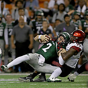 UH Quarterback Dru Brown was sacked in the first half by Aztec DL Noble Hall.  San Diego State University defeated the University of Hawaii Rainbow Warriors 28-7, at Aloha Stadium, Honolulu, Hawaii in a Mountain West Conference football game. Photo by Barry Markowitz, 10/28/17, 6:10pm