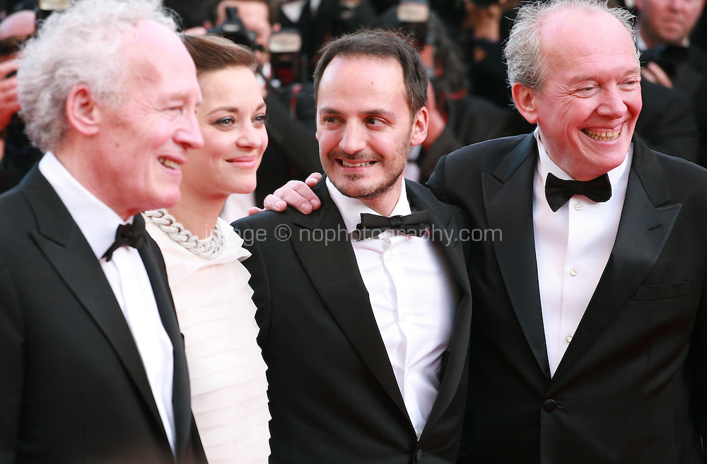 Jean-Pierre Dardenne, Marion Cotillard, Fabrizio Rongione and Luc Dardenne at the Two Days, One Night (Deux Jours, Une Nuit) gala screening red carpet at the 67th Cannes Film Festival France. Tuesday 20th May 2014 in Cannes Film Festival, France.