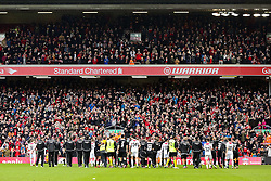 Both teams do a lap of honour after the match - Photo mandatory by-line: Dougie Allward/JMP - Mobile: 07966 386802 - 29/03/2015 - SPORT - Football - Liverpool - Anfield Stadium - Gerrard's Squad v Carragher's Squad - Liverpool FC All stars Game