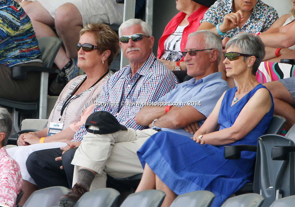 Sir Richard Hadley watches the match. Day 2, ANZ Boxing Day Cricket Test, New Zealand Black Caps v Sri Lanka, 27 December 2014, Hagley Oval, Christchurch, New Zealand. Photo: John Cowpland / www.photosport.co.nz