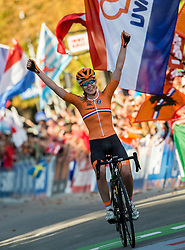 Arrival / Anna Van The Breggen of The Netherlands / Celebration / During the Women's Elite Road Race a 156.2km race from Kufstein to Innsbruck 582m at the 91st UCI Road World Championships 2018 / RR / RWC / on September 29, 2018 in Innsbruck, Austria. Photo by Vid Ponikvar / Sportida