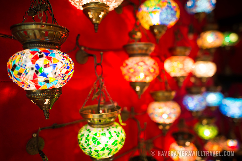 A shop selling colorful lights with mosaic tiles in the Grand Bazaar in Istanbul.