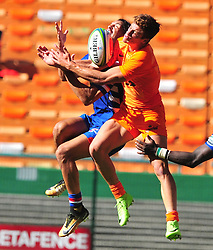Cape Town-180217 Stomers Dillyn leyds and Nicolas Sanchez  of Jaguares  jump for an areal ball in the opening game of the Super 15 at Newlands .photograph:Phando Jikelo/African News Agency/ANA