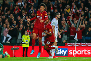 GOAL 0-2 Liverpool defender Ki-Jana Hoever (51) scores and celebrates with Liverpool forward Rhian Brewster (24) during the EFL Cup match between Milton Keynes Dons and Liverpool at stadium:mk, Milton Keynes, England on 25 September 2019.
