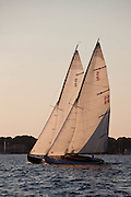 Lucky Pierre, and  Vindex sailing in the Herreshoff S Class division of the Newport Yacht Club Tuesday night racing series.