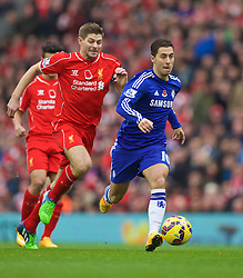 LIVERPOOL, ENGLAND - Saturday, November 8, 2014: Liverpool's captain Steven Gerrard and Chelsea's Eden Hazard during the Premier League match at Anfield. (Pic by David Rawcliffe/Propaganda)