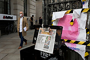 "Katherine, Duchess of Cambridge shares the front page of the Evening Standard newspaper with the latest headline about the UK Coronavirus pandemic, the news that the UK government has lowered the national Covid-19 alert level from 4 to 3, meaning the virus is considered to be ""in general circulation .. with ""a gradual reduction in restrictions"". The number of deaths from Coronavirus in the last 24hrs however, has increased by 287 to 37,979,  on 19th June 2020, in the City of London, England. All passengers on the public transport system are still being asked to wear face covering."