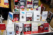 Tunis, Tunisia. January 27th 2011.The window of the Librairie Al Kitab that shows the books that were forbidden under Ben Ali's regime.....