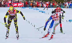 15.01.2011, Casino Arena, Seefeld, AUT, FIS World Cup, Nordic Combined, Ind. Gunderson 10 km, im Bild Sebastien Lacroix (FRA) und Armin Bauer (ITA) , during Nordic Combined at Casino Arena in Seefeld, Austria on 15/1/2011, EXPA Pictures © 2011, PhotoCredit: EXPA/ P. Rinderer