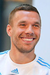 08.06.2015, Mercedes Benz Zenter, Koeln, GER, Nationalmannschaft, Pressekonferenz, im Bild Lukas Podolski (Inter Mailand) // during a press conference of the german national football team at the Mercedes Benz Zenter in Koeln, Germany on 2015/06/08. EXPA Pictures © 2015, PhotoCredit: EXPA/ Eibner-Pressefoto/ Schüler<br /> <br /> *****ATTENTION - OUT of GER*****