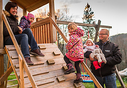 Family - father, mother and 3 girls, on December 10, 2018 in Poljane, Slovenia. Photo by Vid Ponikvar / Sportida