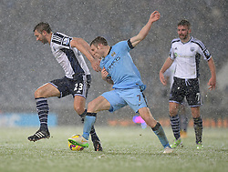 West Bromwich Albion's Gareth McAuley battles for the ball with Manchester City's James Milner - Photo mandatory by-line: Alex James/JMP - Mobile: 07966 386802 - 26/12/2014 - SPORT - football - West Bromwich - The Hawthorns - West Bromwich v Manchester City - Barclays Premier League