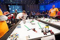 Amid flashing lights and thumping beats and a 100 strong chorus of encouragement from excited friends and family, xx students from xxx in xxx scooped the title of SAP FIRST LEGO League Champions 2015 at the live national final in Galway today!<br />  <br /> Just under 300 students from 10 counties around Ireland travelled west to take part in the final which ran all day in the Radisson Blu hotel with heightening excitement and tension.  For each of the teams competing, this was the final leg of a challenging and exhilarating journey which saw them complete projects which addressed the huge question: &ldquo;What is The Future of Learning? &ldquo;.<br /> <br /> Photo:Andrew Downes