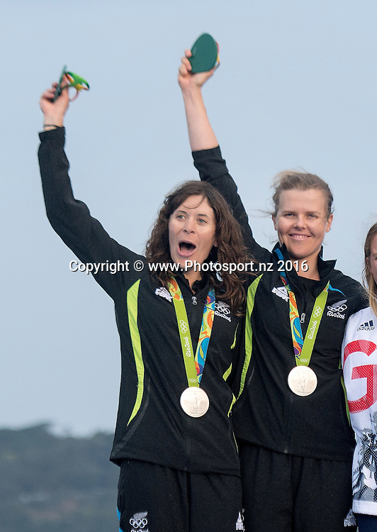 New Zealand's Jo Aleh and Polly Powrie win Silver for the 470 class sailing race the 2016 Rio Olympics on Thursday the 18th of August 2016. © Copyright Photo by Marty Melville / www.Photosport.nz