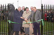 Ohio University dedicated Emeriti Park, a four-acre site on South Green that honors the university's former faculty and staff members, on Monday. Participating in a ribbon-cutting ceremony at the park's entrance are President Robert Glidden, Vice President for University Advancement Leonard Raley, Vice President for Finance and Treasurer Emeritus William Kennard,  Vice President for Administration Gary North and Professor Emeritus Charles Carlson..The entranceway is named for Kennard, who retired in 1997 after 31 years of service with the university. The park includes a pond, flowerbeds, benches, trees, fountains and a waterfall. In the spring, a gazebo will be added to the northern edge of the park.