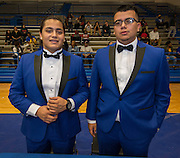 Chavez High School football players Sergio Guerrero and Luis Montes pose for a photograph on Athletic Signing Day at the Pavilion, February 1, 2017.