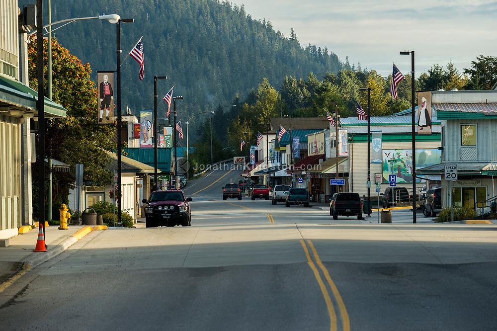 American flags flying over the main street of Petersburg, Alaska.