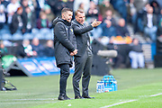 Brendan Rogers of Celtic FC speaks to the fourth official  during the Betfred League Cup semi-final match between Heart of Midlothian FC and Celtic FC at the BT Murrayfield Stadium, Edinburgh, Scotland on 28 October 2018.