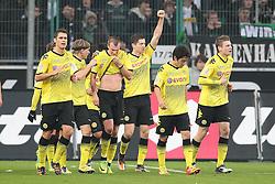 03.12.2011, BorussiaPark, Mönchengladbach, GER, 1.FBL, Borussia Mönchengladbach vs Borussia Dortmund, im BildRobert Lewandowski (Dortmund #9) (arm nach oben) ist der gefeierte Torschütze nach dem 0:1 // during the 1.FBL, Borussia Mönchengladbach vs Borussia Dortmund on 2011/12/03, BorussiaPark, Mönchengladbach, Germany. EXPA Pictures © 2011, PhotoCredit: EXPA/ nph/ Mueller..***** ATTENTION - OUT OF GER, CRO *****