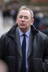 © Licensed to London News Pictures . 04/03/2014 . Manchester , UK . Former ITV Weatherman FRED TALBOT leaves Manchester Minshull Street Crown Court this morning (Tuesday 4th March) after pleading not guilty to charges of historic sex abuse . Talbot is charged with nine counts of indecent assault and one count of sexual assault relating to his time as a biology teacher at Altrincham Grammar School for Boys and at a school in Newcastle . Photo credit : Joel Goodman/LNP
