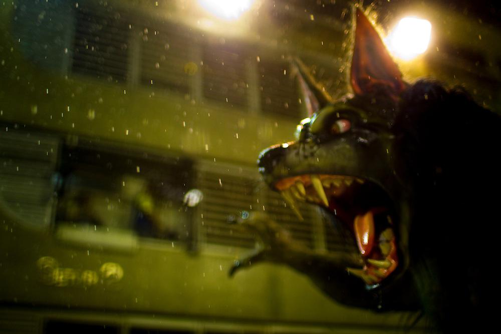Rio de Janeiro, RJ, Brazil, 08/03/2011, 02h31:  A samba dancer wearing a werewolf fantasy in Rio de Janeiro's 2011 Carnival, at Marquês de Sapucaí avenue.  (photo: Caio Guatelli)