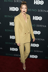 """Gigi Hadid attends the HBO premiere of """"Being Serena"""" at the Time Warner Center in New York."""