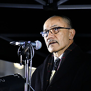 Sir Jerry Mateparae is a high commissioners of New Zealand addresses of the terror attacks in New Zealan #Christchurch Mosque in Trafalgar Square on 21 March 2019, London, UK.
