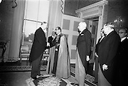 06/01/1965<br /> 01/06/1965<br /> 06 January 1965<br /> President de Valera greets Most Reverend Joseph M. Sensi, Apostolic Nuncio; Swiss Ambassador His Excellency Mr. Julien Rossat; and Dr. Heinz Trutzschler von Falkenstein, ambassador of the Federal Republic of Germany.