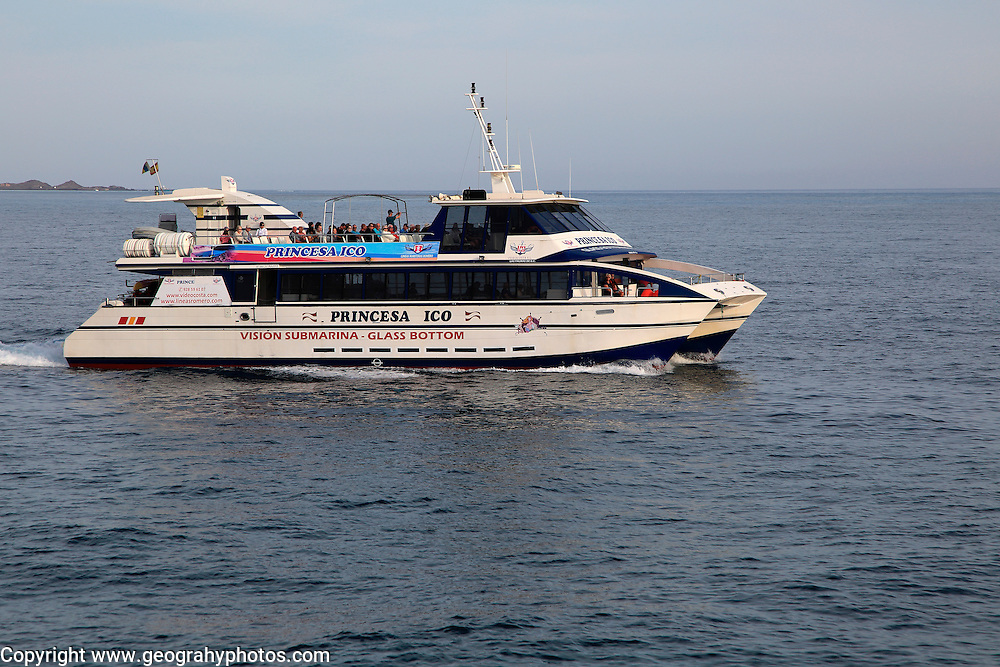 Tourist passenger glass bottom boat 'Princes Ico' at Corralejo, Fuerteventura, Canary Islands, Spain