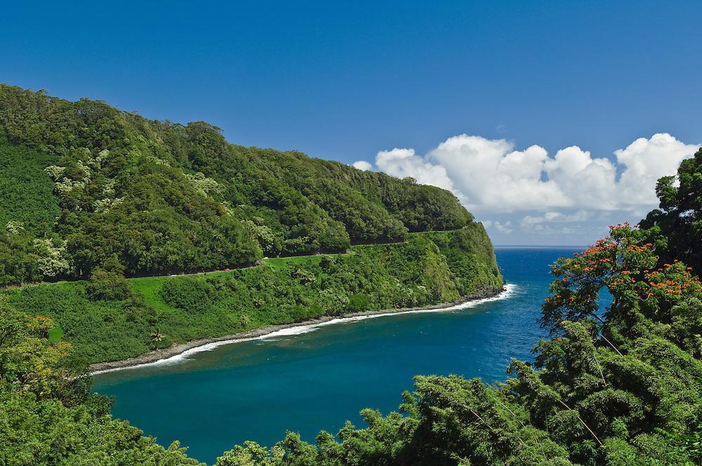 Honomanu Bay and the Hana Highway, Hana Coast, Maui, Hawaii.