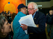 07 APRIL 2019 - OSKALOOSA, IOWA:  US Senator BERNIE SANDERS greets supporters at the end of a campaign event Sunday. Sanders held a town hall campaign event on the campus of  William Penn University in Oskaloosa. Sanders is one of dozens of Democratics who hope to be the party's nominee for the 2020 US Presidential election. Iowa holds the first in the country selection contest with state caucuses on Feb. 3, 2020.    PHOTO BY JACK KURTZ