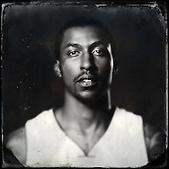 Sep 29, 2014; Auburn Hills, MI, USA;  (Editor's Note: Photo was post-processed creating a digital tintype) Detroit Pistons guard Kentavious Caldwell-Pope (5) during media day at the Pistons practice facility. Mandatory Credit: Rick Osentoski-USA TODAY Sports