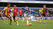 Queens Park Rangers midfielder, Tjaronn Chery (8) scoring the opening goal during the Sky Bet Championship match between Queens Park Rangers and Birmingham City at the Loftus Road Stadium, London, England on 27 February 2016. Photo by Matthew Redman.