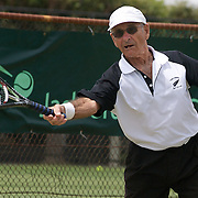 Stuart Robb. New Zealand, in action against Harward Hillier, Australia, during the Gardnar Mulloy Cup match during the 2009 ITF Super-Seniors World Team and Individual Championships at Perth, Western Australia, between 2-15th November, 2009..