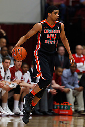 Feb 16, 2012; Stanford CA, USA; Oregon State Beavers forward Devon Collier (44) dribbles the ball against the Stanford Cardinal during the first half at Maples Pavilion.  Mandatory Credit: Jason O. Watson-US PRESSWIRE