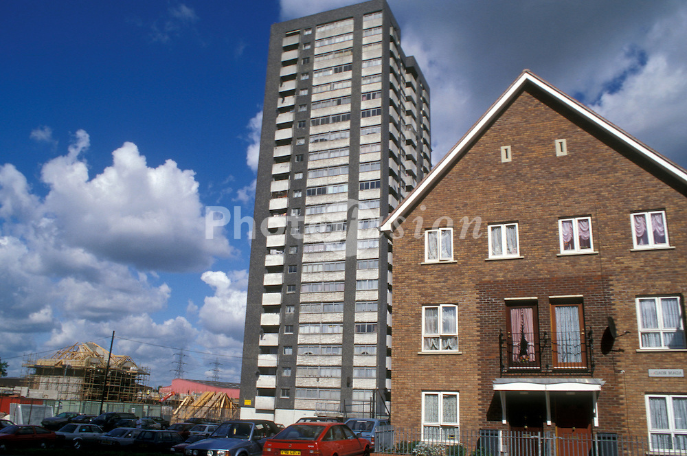 New and old high rise housing on Chingford Hall Estate, Housing Action Trust HAT controlled, East London UK