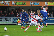AFC Wimbledon striker Joe Pigott (39) scoring goal to make it 1-0 during the The FA Cup match between AFC Wimbledon and Doncaster Rovers at the Cherry Red Records Stadium, Kingston, England on 9 November 2019.