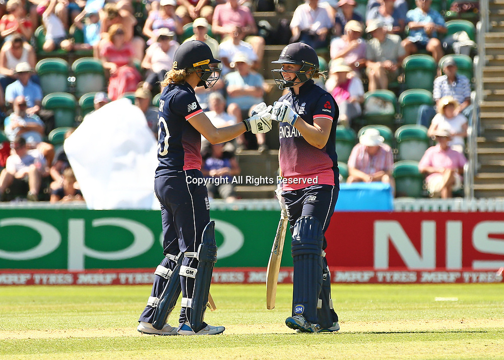 July 2nd 2017, The Cooper Associates County Ground, Taunton, England; The ICC Womens World Cup; England Women versus Sri Lanka Women; Sarah Taylor of England and Heather Knight of England fist pump after Knight hits a four