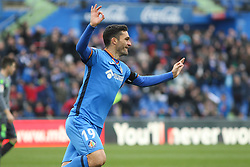 December 15, 2018 - Getafe, Madrid, Spain - Molina of Getafe celebrating a goal during La Liga Spanish championship, , football match between Getafe and Real Sociedad, December 15, in Coliseum Alfonso Perez in Getafe, Madrid, Spain. (Credit Image: © AFP7 via ZUMA Wire)