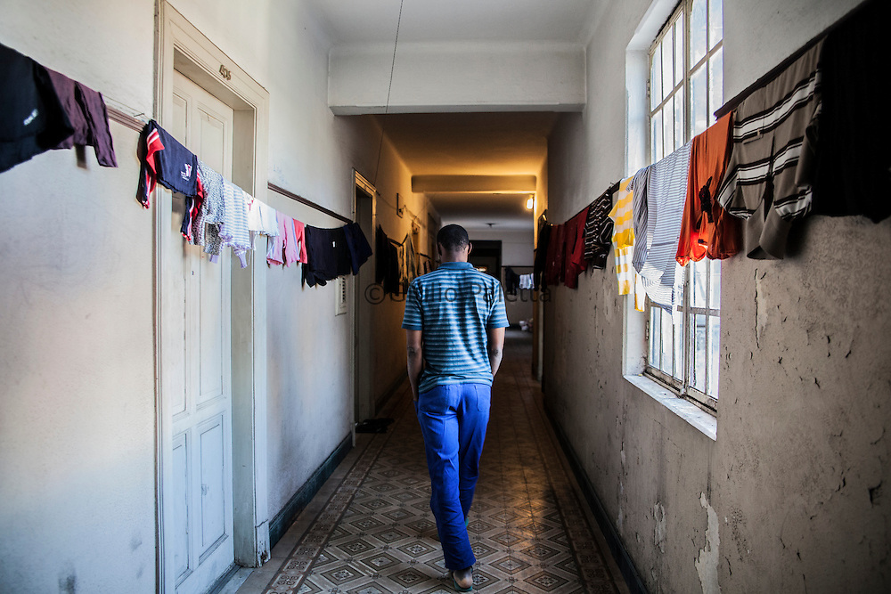 Inside a house of Haitians near Se square in São Paulo, Brazil
