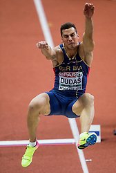 Mihail Dudas of Serbia competes in the Heptathlon Long Jump Men on day two of the 2017 European Athletics Indoor Championships at the Kombank Arena on March 4, 2017 in Belgrade, Serbia. Photo by Vid Ponikvar / Sportida
