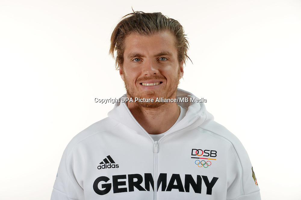 Rico Freimuth poses at a photocall during the preparations for the Olympic Games in Rio at the Emmich Cambrai Barracks in Hanover, Germany. July 07, 2016. Photo credit: Frank May/ picture alliance.   usage worldwide