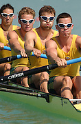 26/08/2003 Tuesday.2003 World Rowing Championships, Milan, Italy.. Milan. ITALY. AUS M4-, Bow. James CHAPMAN, Nicholas BAXTER, Stuart WELCH and stroke, Steve STEWART (s) 2003 World Rowing Championships. Idro Scala Rowing Course. [Mandatory Credit: Peter Spurrier: Intersport Images.]