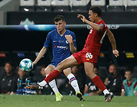 ISTANBUL, TURKEY - AUGUST 14: Trent Alexander-Arnold (R) of Liverpool and Mason Mount of Chelsea vie for the ball during the UEFA Super Cup match between Liverpool and Chelsea at Vodafone Park on August 14, 2019 in Istanbul, Turkey. (Photo by MB Media/Getty Images)