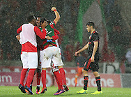 Maritimo´s players celebrate tt the end of the game during the Portuguese First League football match C.S. Maritimo vs S.L. Benfica held at Barreiros Stadium, Funchal, Portugal, 01 December, 2016.
